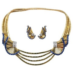 Retro Gubelin Sapphire, Diamond, and Yellow Gold Necklace and Earrings Suite
