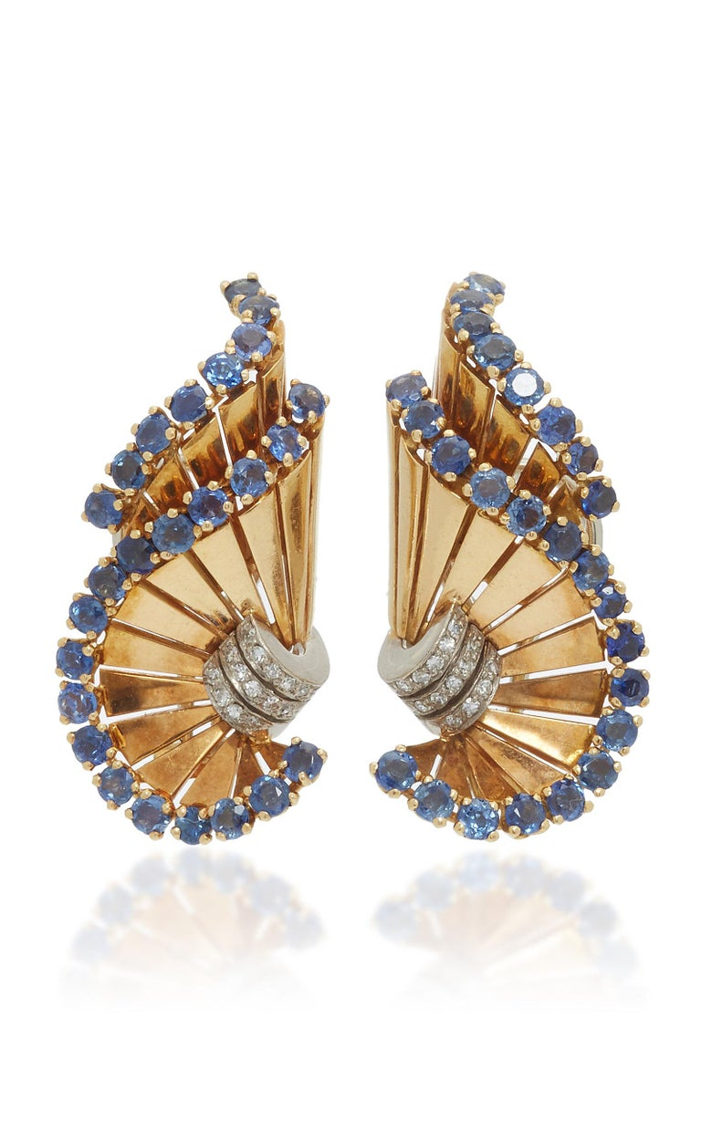 Retro Gubelin Sapphire Diamond Ear-Clips In Excellent Condition For Sale In New York, NY
