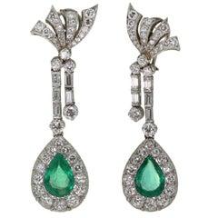 Retro Handmade Platinum Pear Shape Emerald Diamond Drop Earrings GIA Cert.