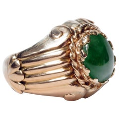 "Retro ""Imperial"" Jade Ring in Regal Coronet Setting Is of Transcendent Beauty"