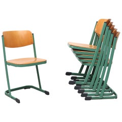 Retro Industrial Stacking School Chairs with Green Enameled Frame
