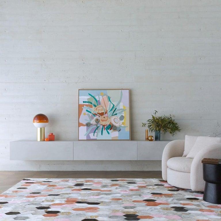 Art Deco Retro Inspired Customizable Hornet Desert Landscape Cowhide Floor Rug X-Large For Sale