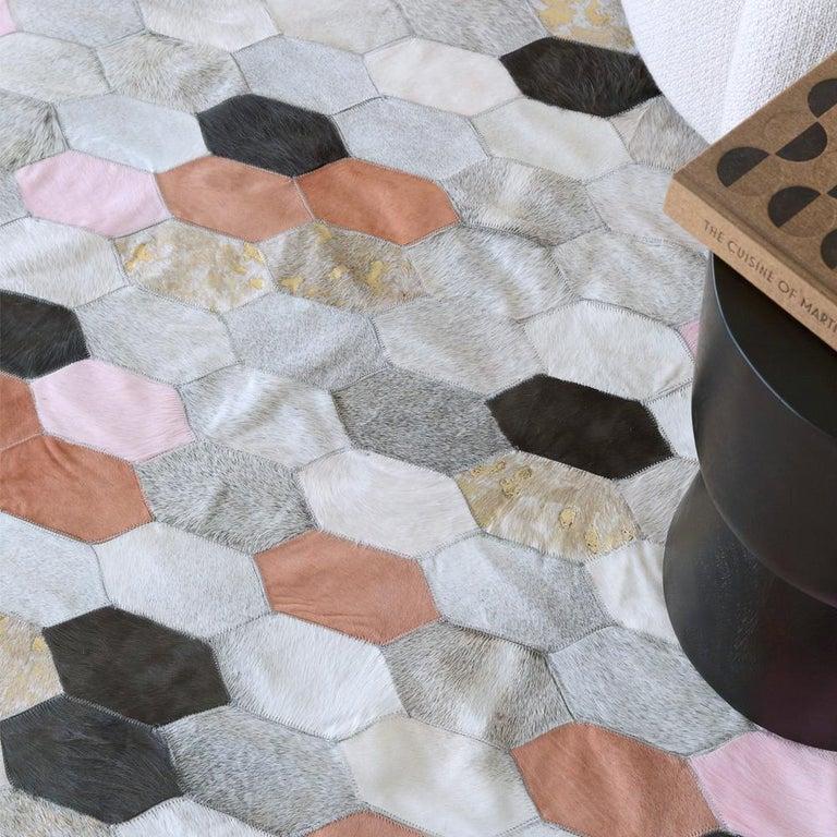 Contemporary Retro Inspired Customizable Hornet Desert Landscape Cowhide Floor Rug X-Large For Sale