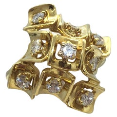 "Retro Italian ""Confetti Cluster"" Diamond Ring in 18 Karat Yellow Gold by Molina"