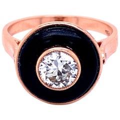 Retro Italian Diamond Solitaire Onyx Gold Ring