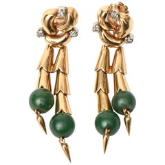 Retro Jade, 14 Karat Rose Gold and Diamond Pierced Dangle Earrings