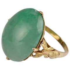 Retro Jade and 14 Karat Gold Cocktail Ring, 1970s