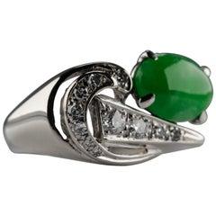 Retro Jade and Diamond Ring Certified Untreated
