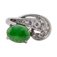 Retro Jade & Diamond Ring Certified Untreated