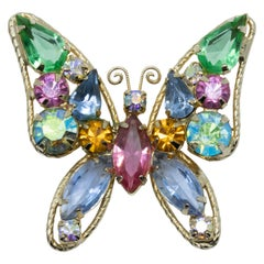 Retro Jeweled Butterfly Pin Brooch in Gold, Mid-Late 1900s, Open Back Crystals