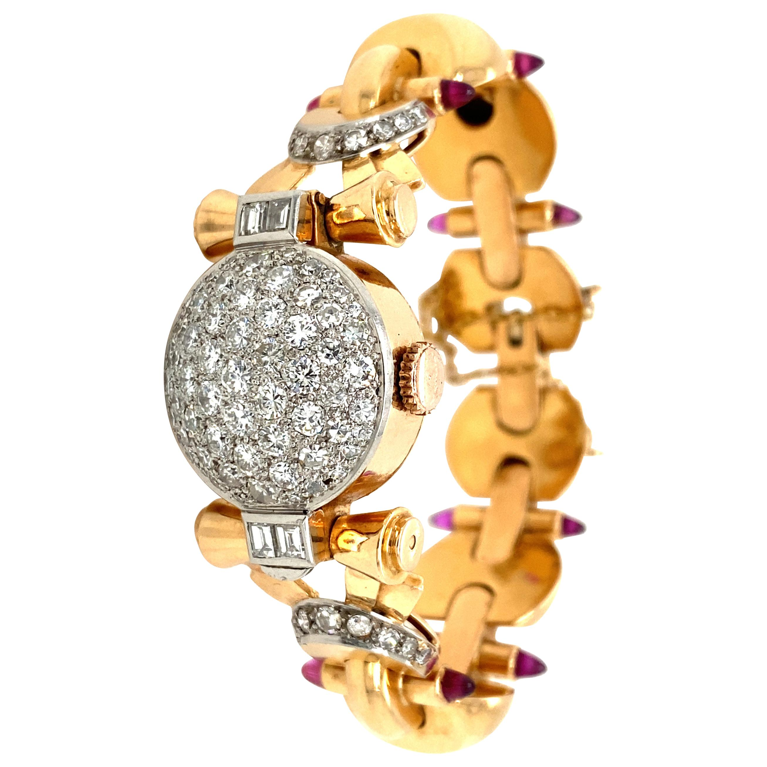 Retro Ladies Diamond Sugar Loaf Ruby Yellow Gold Bracelet Watch