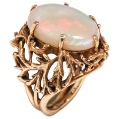 Ladies White Cocktail Large White Flashed Opal Carved Gold Foliate Ring