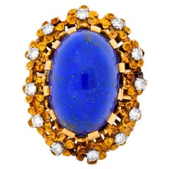 Retro Lapis Diamond 18 Karat Gold Floral Cocktail Ring