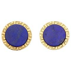 Retro Lapis Lazuli Swivel Back Cufflinks Set in 14k Yellow Gold