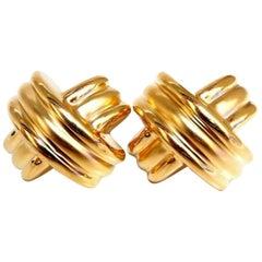 Retro Large Gold X Clip Love Knot Earrings 14 Karat
