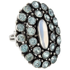 Retro Large Moonstone and Blue Zircon Cluster Ring