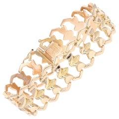 Retro Link Bracelet, 18 Karat Rose Gold Textured Women's Vintage