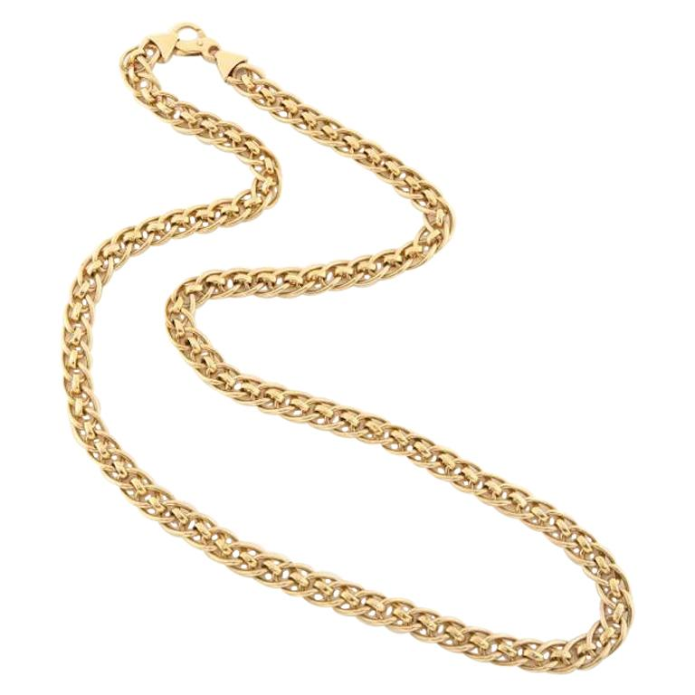 Retro Long Interlocking Link Necklace in 14 Karat Gold, Circa 1940's, Italy