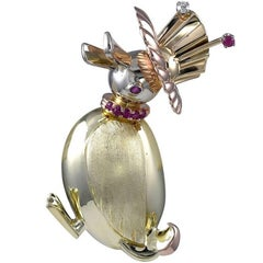 Retro Lucky Duck Gold, Ruby and Diamond Brooch