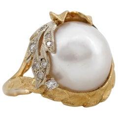 Retro Pearl and Diamond Ring by Harold Freeman