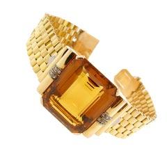 Retro Madeira 57.00 Carat Citrine Gold Bracelet