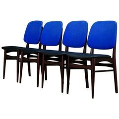 Retro Mahogany Blue Chairs Vintage Danish Design, 1960s