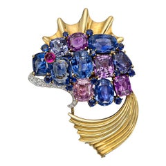 Mauboussin 1939 New York World's Fair Multicolored Sapphire Fish Brooch