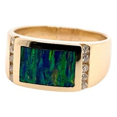 Retro Men's Gold Ring Natural Opal Gem Stone and .30 Carat Diamond, circa 1970