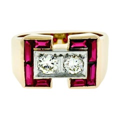 Retro Men's 14K Rosy Yellow Gold 0.56ctw Diamond & Baguette Ruby Wide Band Ring