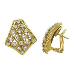 Retro Mesh Twisted Diamonds Yellow Gold Earrings