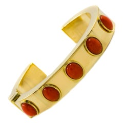 Retro Mid Century Vintage 18K Yellow Gold Hinged Cuff Gem-Set Bracelet