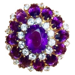 Retro Midcentury 1950s 11 Carat Amethyst VS Diamond Halo Cocktail Ring