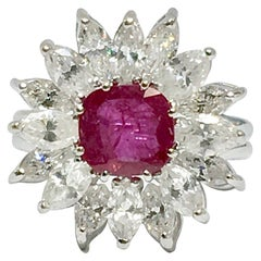 Retro Midcentury 1950s 4.30 Carat Red Ruby VS Diamond Halo Cluster Cocktail Ring