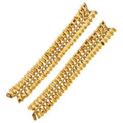 Retro Midcentury Bow Motif Gold Bracelet Necklace Set