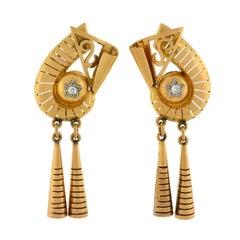 Retro Mixed Metals Diamond Earrings