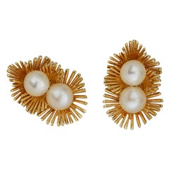 Retro, Modern Yellow Gold, Clip Pearl Earrings