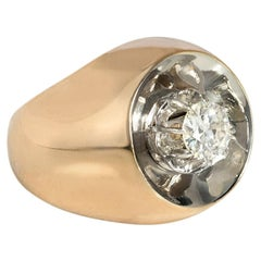 Retro Modernist Gold and Diamond Ring of Concave Reflective Design