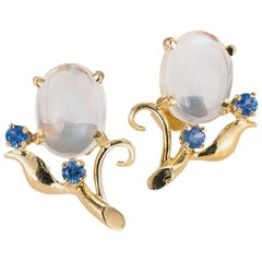 Retro Moonstone Blue Sapphire Yellow Gold Button Earrings