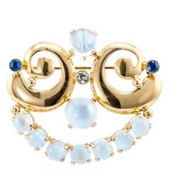 Retro Moonstone Diamond Sapphire Gold Brooch Pendant