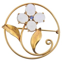 Retro Moonstone Flower Brooch Pin