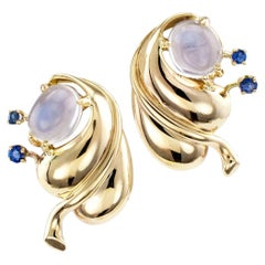 Retro Moonstone Sapphire Yellow Gold Earrings