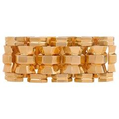 Retro Moroccan Gold Tank Bracelet of Column Link Design