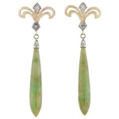 Retro Natural Nephrite Jade and Diamond Drop Earrings