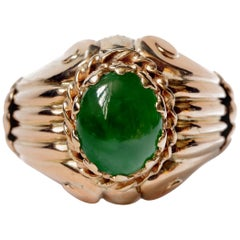 Retro Natural Untreated Jade Ring in Rose Gold with Regal Coronet Setting