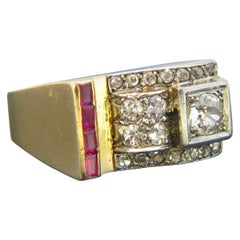 Retro Old Cut Diamonds and Synthetic Rubies Tank Yellow Gold Platinum Ring