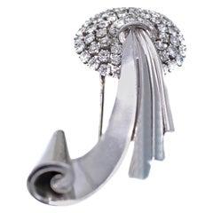 Retro Old European Cut Diamond Platinum Brooch