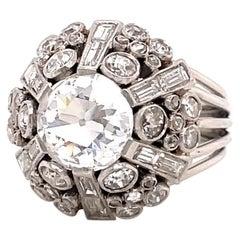 Retro Old European Cut Diamond Platinum Dome Ring