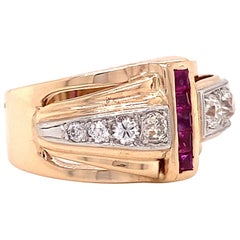 Retro Old European Cut Diamond Ruby 18 Karat Gold Ring