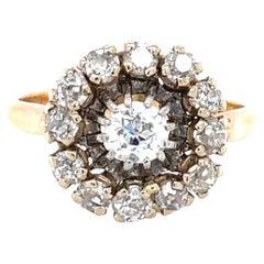 Retro Old European Diamond 18 Karat GoldCluster Ring