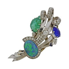 Retro Opal Carved Emerald Sapphire Diamond Platinum Brooch